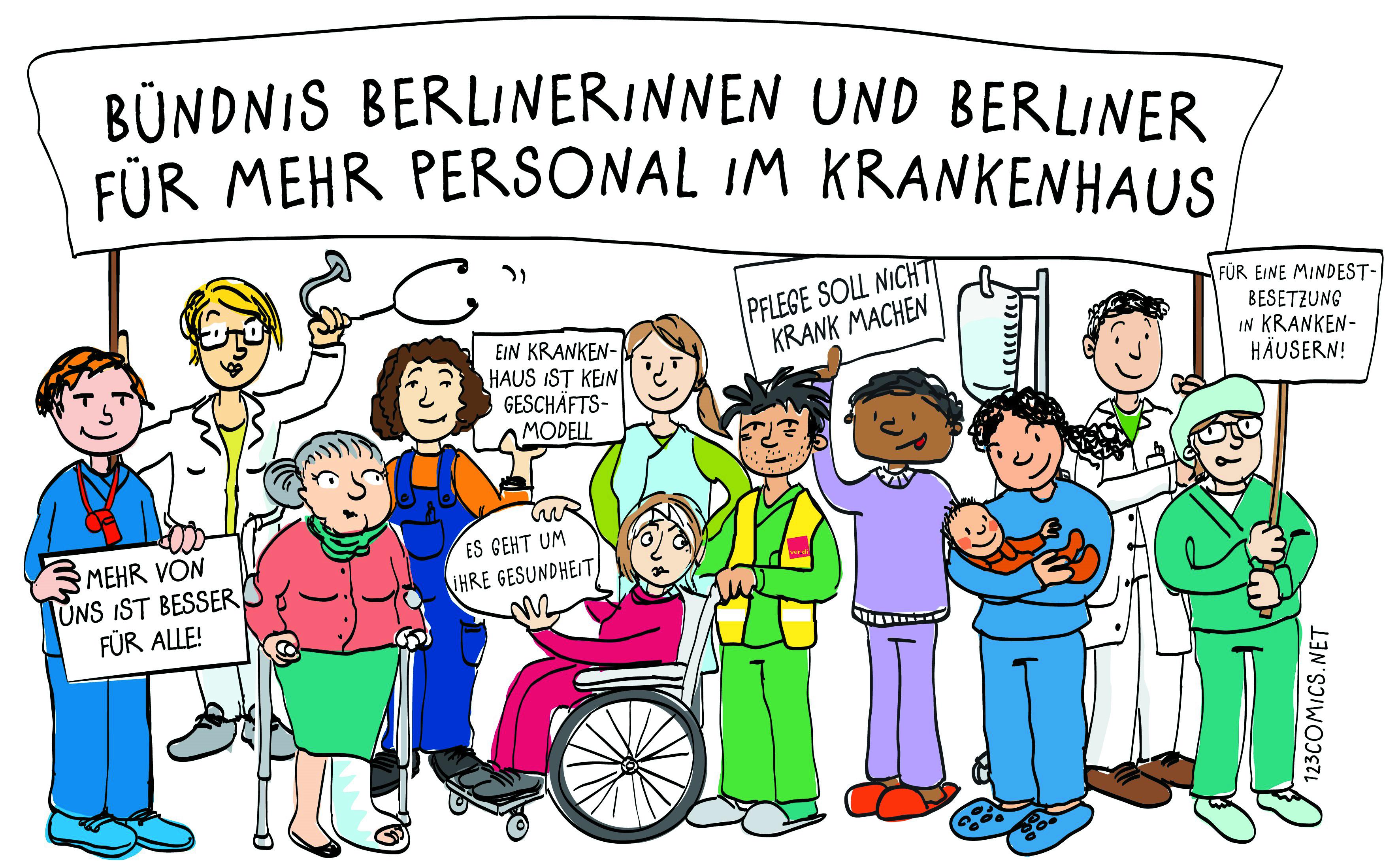 Foto: 123Comics. Lizenz: All rights reserved. Das Bündnis Berlinerinnen und Berliner für mehr Personal im Krankenhaus gründet sich im Juli 2013 um sich mit den Streikenden zu solidarisieren, aber auch, um eigene Interessen an einer guter pflegerischen Versorgung im Krankenhaus durchzusetzen.