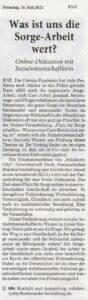 Bericht aus der Rhein-Neckar-Zeitung über die Veranstaltung mit Gabriele Winker
